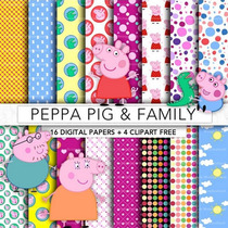 Kit Imprimible Peppa Pig Pack Fondos Digitales Cliparts