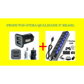 Portas Usb 2.0 Led + Carregador Veicular Turbo 12v/24v