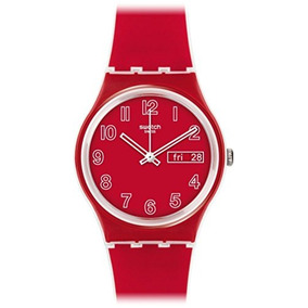 Swatch Poppy Field Quartz Plastic And Silicone Casual Watch,
