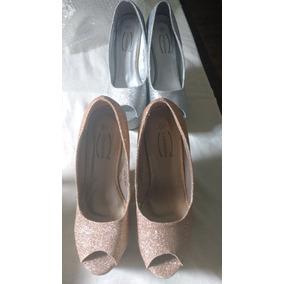 Lindos Sapatos Plataforma Dourado E Prateado