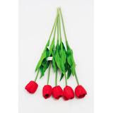6 Unidades Flores Artificiais Tulipa Vermelha Silicone