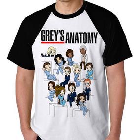 S/frete Unissex Camiseta Raglan Greys Anatomy Camisa Blusa