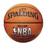 Bola De Basquete Oficial Nba Spalding Silver Couro Composite