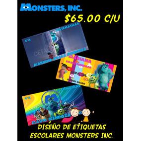 Diseño De Etiquetas Escolares Monster Inc