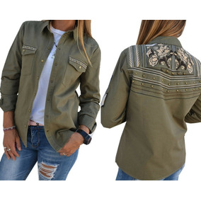 Camisa Gabardina Bordada Verde Militar Mujer The Big Shop