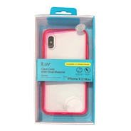 Funda Iluv iPhone Xsmax Vyneer Transparente Borde Rosa/negro