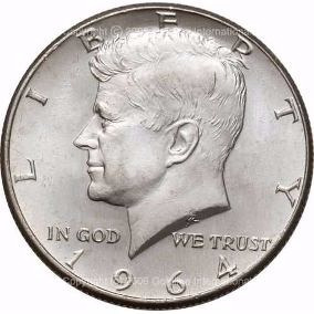 Moneda Coleccion Plata Kennedy Half Dollar 1964