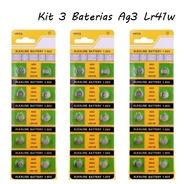 Kit 3 Cartelas Bateria Ag3lr41w Potência Contínua Longa Vida