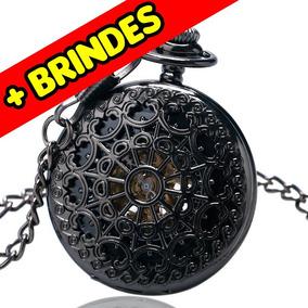 Relógio De Bolso De Luxo Mecânico Preto + Caixa + Brindes