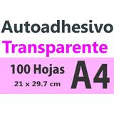 Sticker Autoadhesivo Transparente Impresora Laser A4 X 100