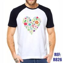 Camisa Raglan Coração Flores Amor Love Estilo Swag Thug Life