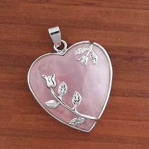 Dije Corazon Cuarzo Rosa Collar Piedra Natural
