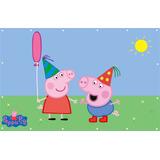 Painel Peppa Pig Aniversário Peppa Pig Lona - 0,90 X 1,40