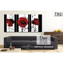 Cuadro Flores Triptico 140x52cm O 110x52cm Moderno Living