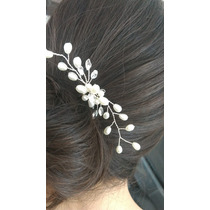 Horquilla Peinado Pasador Decoracion Novia Perlas Brillante
