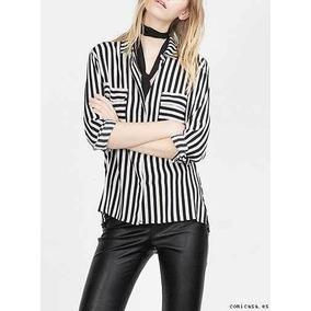 Camisa Casual De Vestir Rayas Negra Y Blanca Mujer Talle M