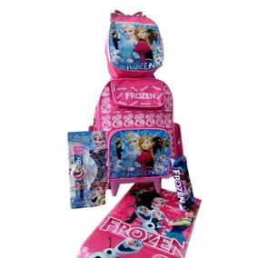 Kit Mochila Escolar Infantil Frozen Com Relógio Projetor