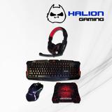 Kit Gamer Halion Ha820 Teclado/mouse/auricular/pad