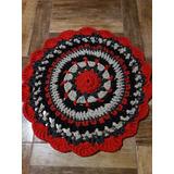Tapete Y Cesto De Totora Crochet 70 Cm