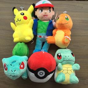 Kit 6 Pelúcia Pokemon Ash Pikachu Pokebola Festa Aniversário