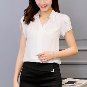 Camisa Blusa Feminina Social Mangacurta Crepe Cores Uniforme