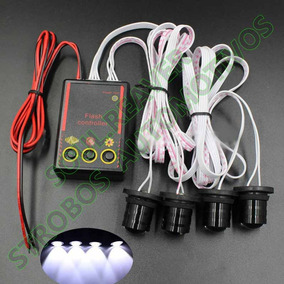 Kit Strobo Automotivo Led Branco Safetycar Com 4 E 7 Efeitos