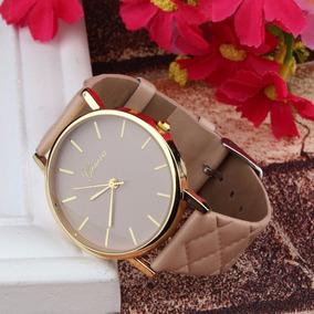 Relógio Feminino Luxo Pulseira Marrom Barato