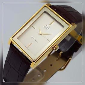 Relógio Masculino Original Marca Q&q Dourado Retangular Cour