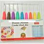 Set 9 Agujas Crochet Mango Siliconado + 10 Marcadores