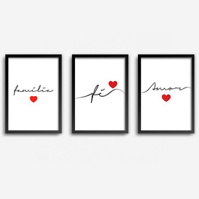 Conjunto Quadros Decorativos Fé Amor Família Com Vidro A4