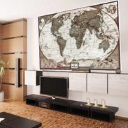 Mapa Mundi Atual Estilo Envelhecido 65x100cm Sala Vintage