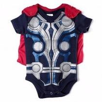 Body Thor Com Capa Fantasia Bebê Super Heroi Marvel Comics