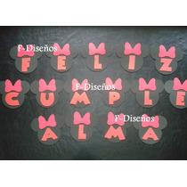 Cartel Guirnalda Feliz Cumpleaños Minnie + Nombre 6 Letras
