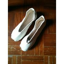 Zapatillas De Ballet En Cuero Blanca Y Rosada