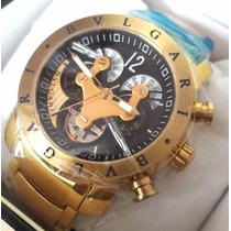 Relogio Automatico Bullgari 3d Dourado Preto Luxo Promoção