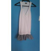 Vestido Blanco Playero Con Faralado De Rayas Azules Talla M