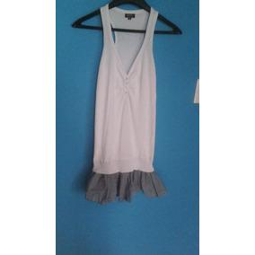 Vestido Blanco Casual Playa Con Faralado De Rayas Azules M