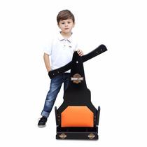 Carrinho De Rolimã F1 Harley Davdson Junior Roda Skate Preto