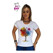 Camiseta Feminina Estampa Arte Arvore Colorida P038