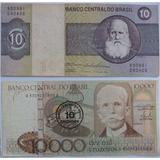 Cédula Nota Antiga 10 Cruzeiros 1980 E 10 Cruzados 1986