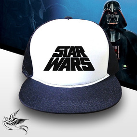 Boné Star Wars Branco Preto Aba Reta Trucker Frete Grátis 56b75fec128