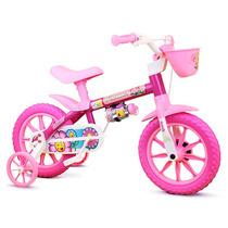Bicicleta Aro 12 Infantil Rosa Tipo Barbi Nathor Flower
