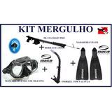 Kit Mergulho Mascara /snorkel/nadadeira /arbalete Arpão Inox