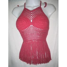 Top Crop Tejido A Crochet Con Flecos