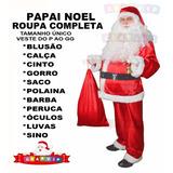 Fantasia Papai Noel Roupa + Barba Peruca Luvas Óculos Sino