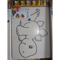 Tela Para Pintura Dino, 40 Cmx 30cm, 6 Tintas, Pincel