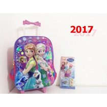 Kit Mochila Exclusivo Infantil De Rodinhas Frozen 2017