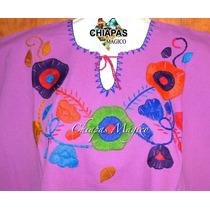 Blusa De Chiapas Bordada A Mano / Manta / Lila / Talla Xl