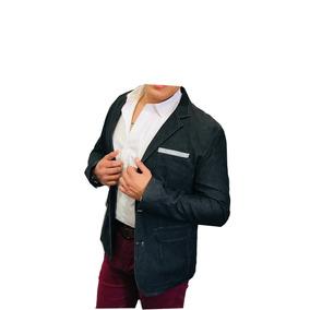 Blazer Saco Para Hombre De Mezclilla Negra Marca Peaceful