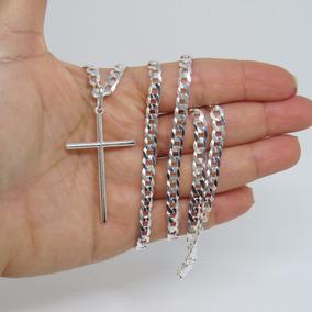 Corrente 60cm Masculina Grumet Pingente Crucifixo Prata 925